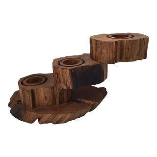 Three Tiered Wooden Candle Holder