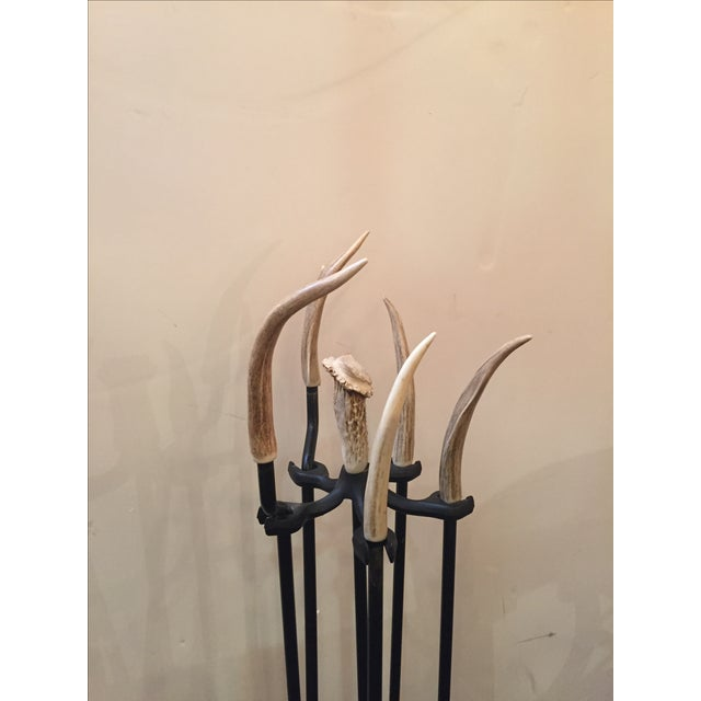 Iron Fireplace Tool Set with Authentic Antler - Image 3 of 5