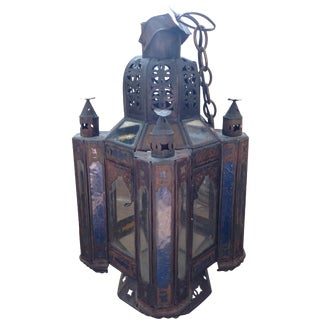 Morrocan Hanging Pendant Lantern Stained Glass