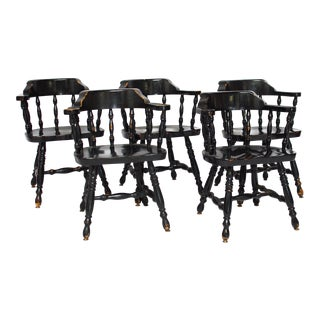 Vintage Black English Pub Chairs - Set of 5