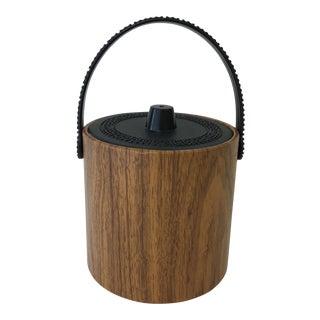 Mid-Century Modern Greek Key Handle Faux Wood Ice Bucket