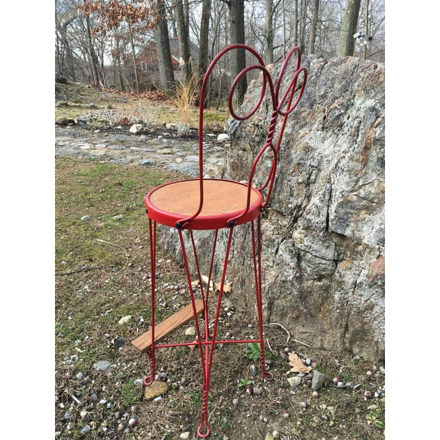 Vintage Red Iron Bar Stool - Image 4 of 6