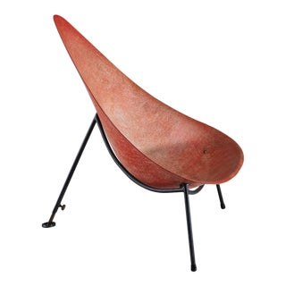 Early French fiberglass easy chair in red by Merat, France, 1956