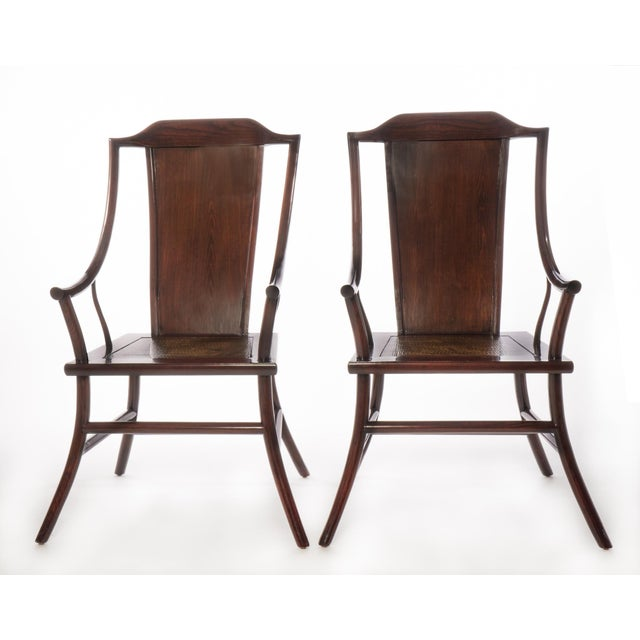 Antique Chinese Rosewood Arm Chairs - Pair - Image 2 of 3