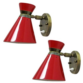 French Double Cone Wall Lights - A Pair