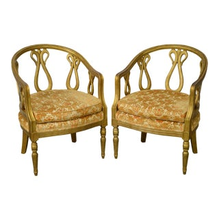 Hollywood Regency Grosfeld House Attributed Pair of Faux Gold Painted Club Chairs