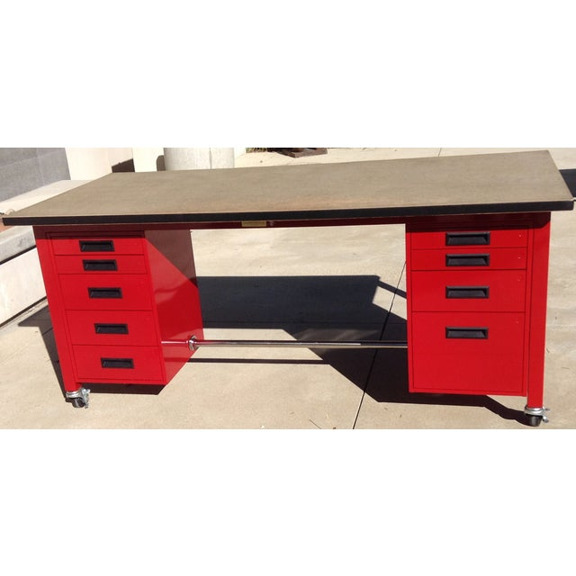 Red Powder Coated Steel Work Station - Image 2 of 5
