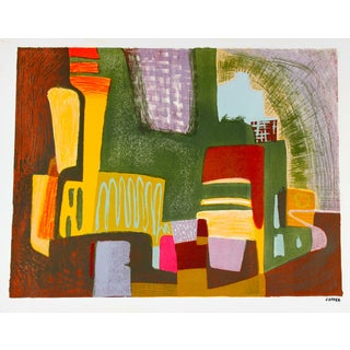 """Mid Century """"Abstracted Cityscape"""" Lithograph"""