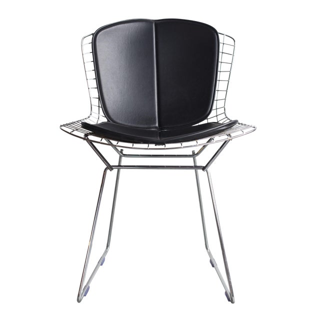 Knoll Bertoia Black Padded Wire Side Chair - Image 1 of 8