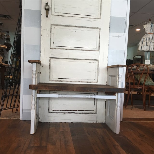 Repurposed Antique Door Hall Tree Bench - Image 8 of 8