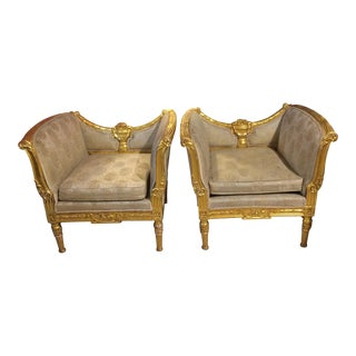 Art Deco Style Gilt Armchairs - A Pair