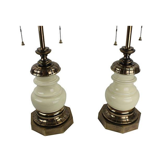 Stiffel Lamps in Porcelain & Brass - Pair - Image 6 of 6
