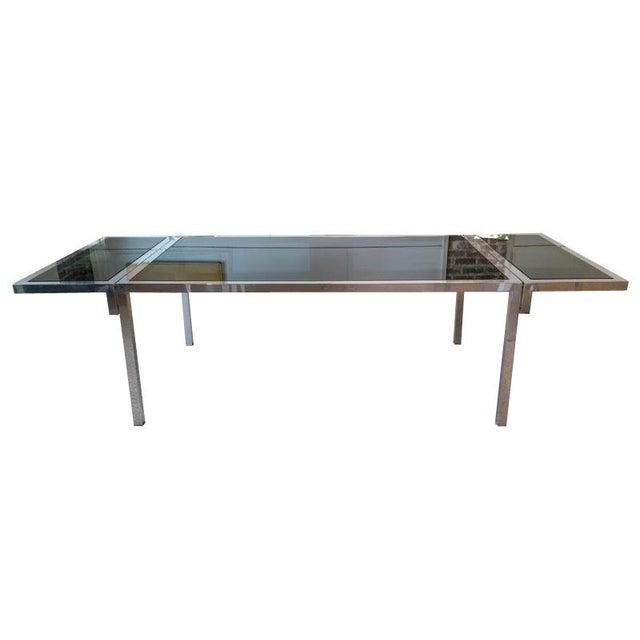 Image of Vintage Aluminium & Smoked Glass Dining Table