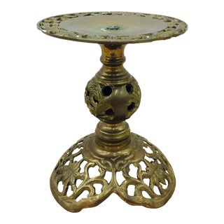 Vintage Pierced Brass Candlestick
