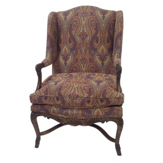 Country French Lounge Chair With Tapestry