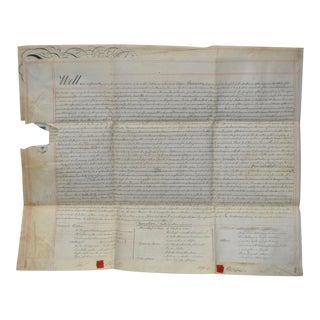 19th Century Hand Written Deed c.1840s