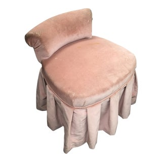 Petite Pink Velvet Skirted Vanity Chair
