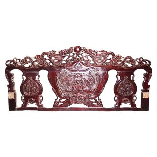 Carved Burgandy Wood Head Board