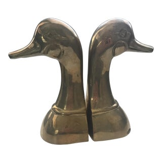 Mid-Century Brass Duck Head Bookends - A Pair