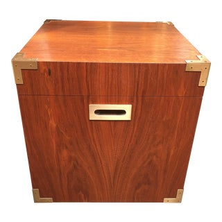 Campaign Style Storage Cube Side Table