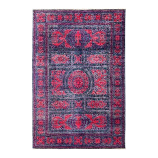 "Purple & Red Hand Knotted Area Rug - 6'1"" X 8'9"""
