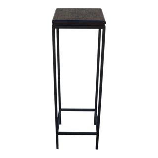Black Hammered Iron and Wood Parquet Top Pedestal