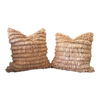 Handmade South African Raffia Pillows - Pair