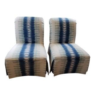 Slipper Chairs in White & Blue - Pair