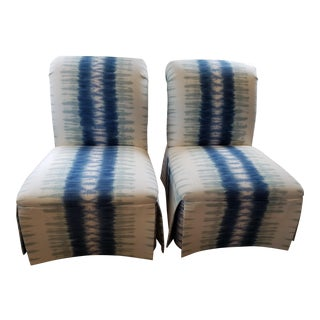 Slipper Chairs in White & Blue - Pair