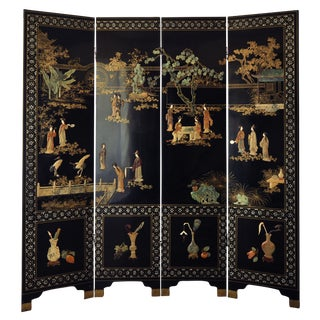 Vintage Chinese 4 Panel Lacquered Hardstone Screen