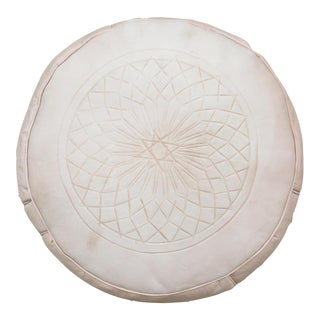 Moroccan Nude Leather Pouf