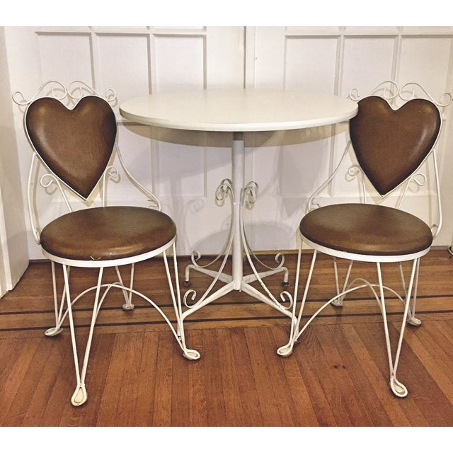 Image of Charming Vintage Ice Cream Parlor Table & 2 Chairs