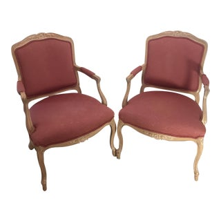 French Provincial Whitewashed Chairs - A Pair