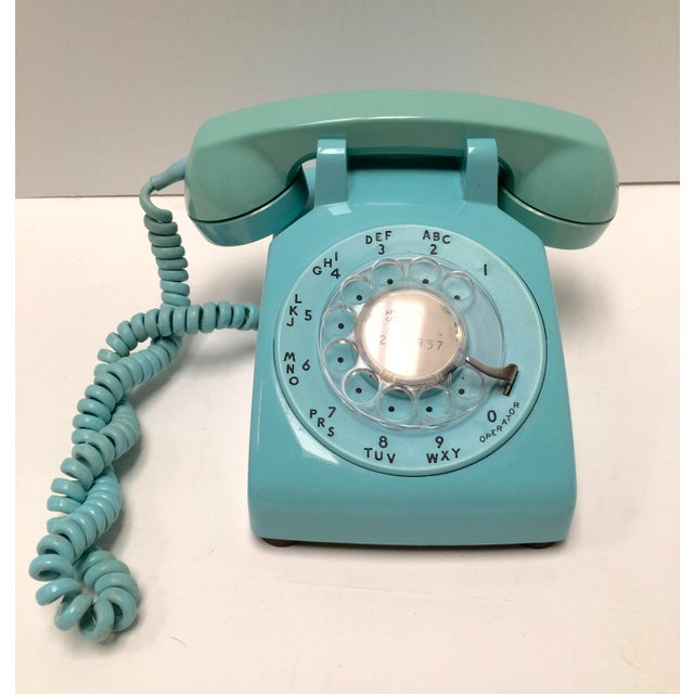 Image of Vintage Turquoise Blue Dial Desk Telephone