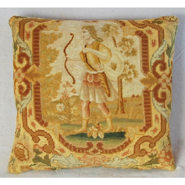 """16"""" Antique French Needlepoint Feather/Down Pillow - Image 10 of 11"""