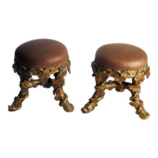 Italian Giltwood Grotto Stools Upholstered in Leather