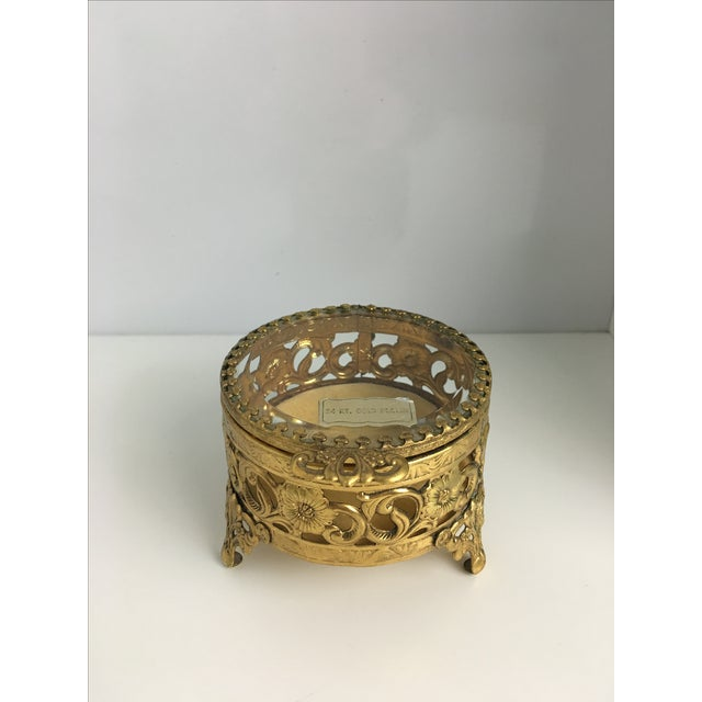 Vintage 24 Carat Gold Ormolu Trinket Box - Image 2 of 3