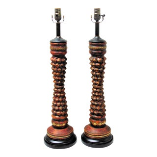 Unique Wood Candlestick Lamps - A Pair