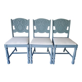 French Country Oak Chairs - Set of 3