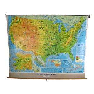 Vintage Classroom Pull-Down Map USA