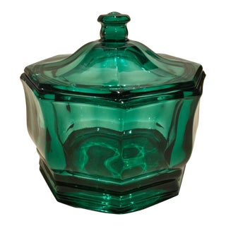 """1940s Indiana """"Concord"""" Evergreen Octagonal Candy Dish"""