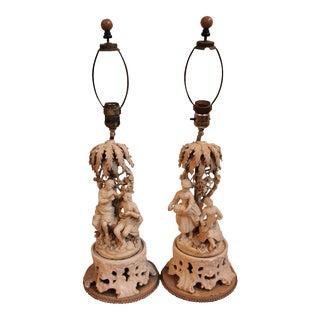 Antique Figural Creamware Table Lamps - Pair
