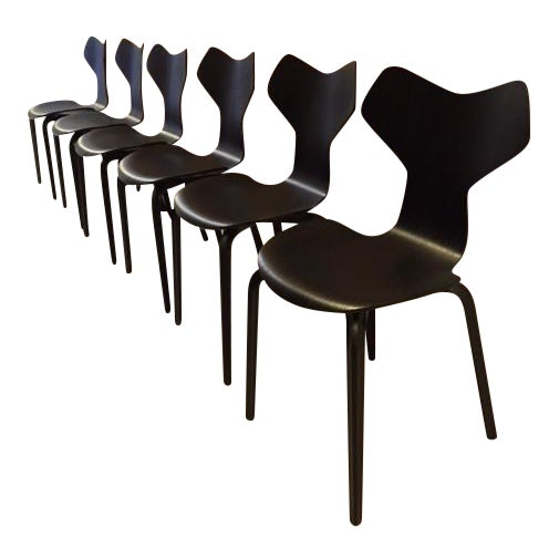 Arne jacobsen grand prix chairs 6 chairish - Chaise grand prix jacobsen ...