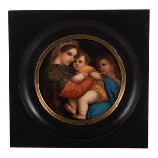 19th Century Italian Madonna Della Seggiola Hand Painted Porcelain Plaque