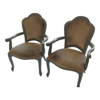Vintage Grey Brindle Hide Chairs - A Pair