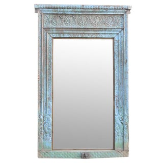 Antique Turquoise Haveli Floor Mirror