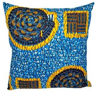 Blue African Dutch Wax Floor Pillow Cover 24 x 24