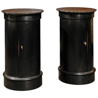 Pair of French Early 20th Century Ebonized Wood Column Tables with Marble Tops