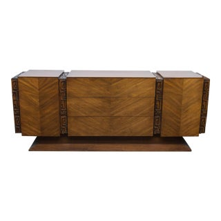 Brutalist Midcentury Walnut Triple Dresser by United Furniture