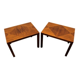 Mid-Century Danish Modern Walnut Parquet Top End Tables - a Pair